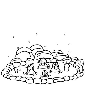 温泉に入る猿のサムネイル