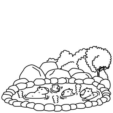 温泉に入るカピバラのサムネイル