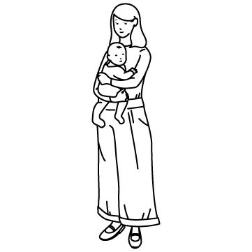 赤ちゃんを抱っこする母のサムネイル