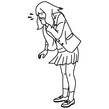 くしゃみする女子高生のサムネイル