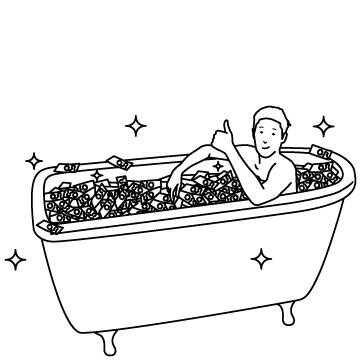 札束風呂(大儲け)のサムネイル