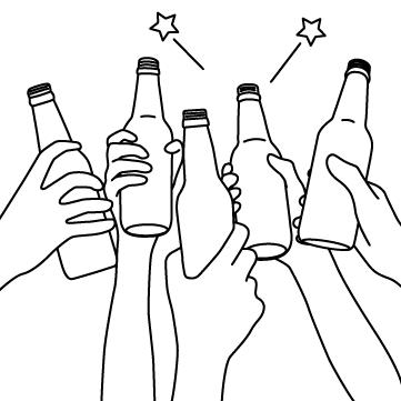 ビール瓶で乾杯のサムネイル