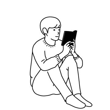体育座りで読書の秋 02のサムネイル