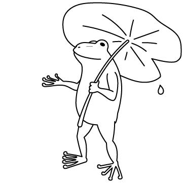 葉っぱを持つカエルのサムネイル