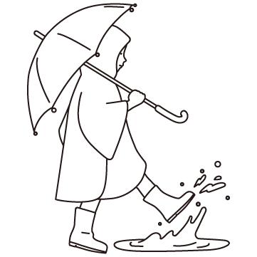 水たまりを蹴る子供のサムネイル